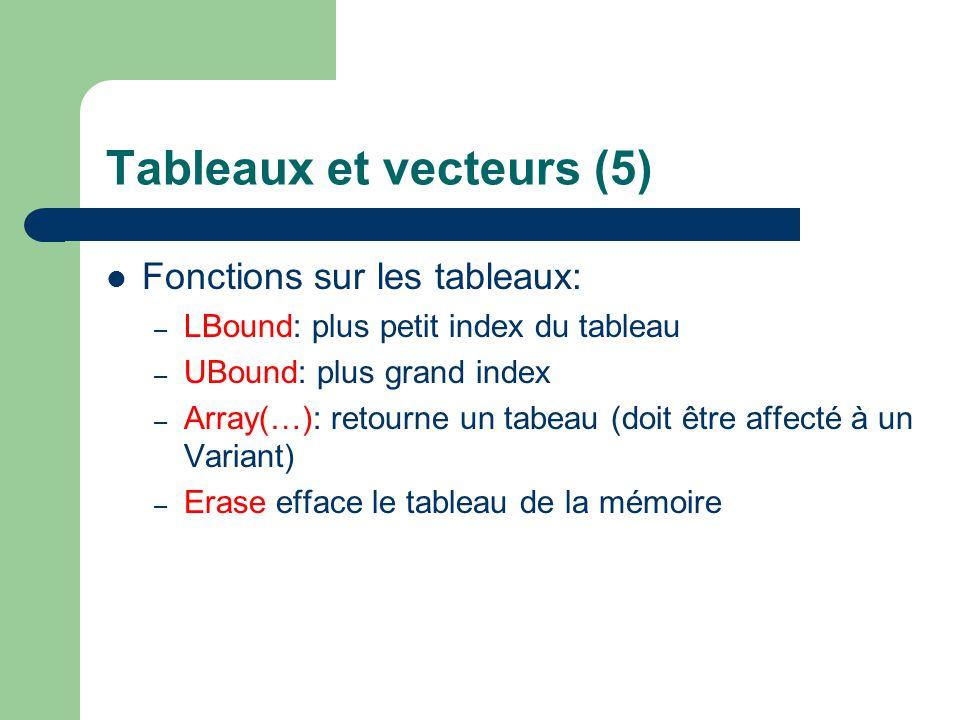 Tableaux et vecteurs (5)