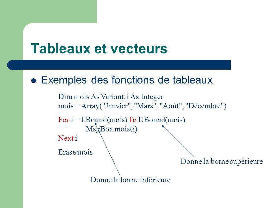 Tableaux et vecteurs Exemples des fonctions de tableaux