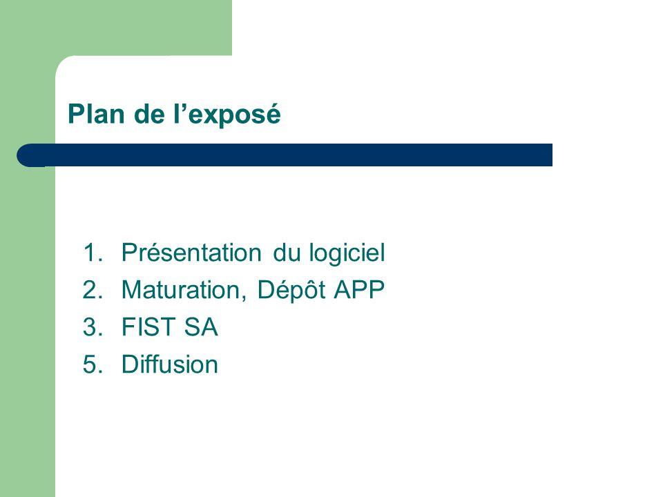 Plan de l'exposé 1. Présentation du logiciel 2. Maturation, Dépôt APP