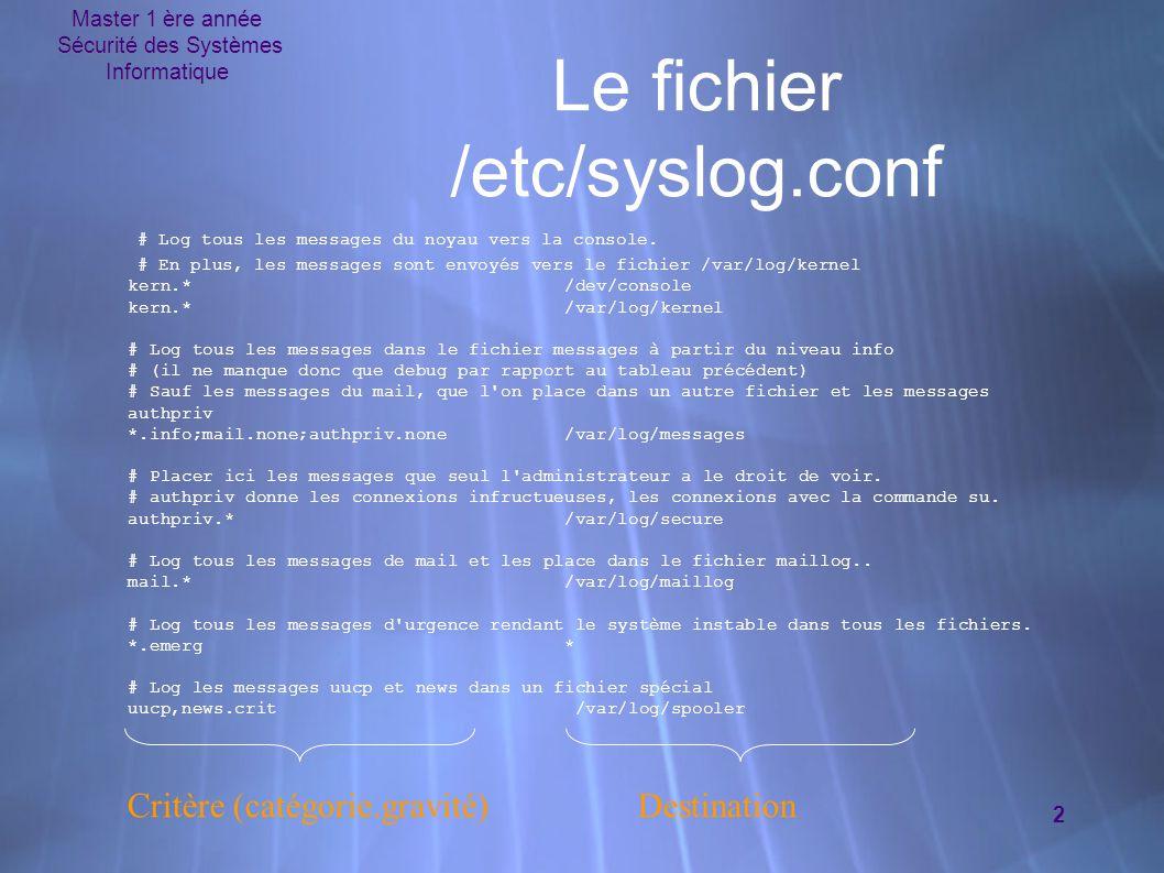 Le fichier /etc/syslog.conf