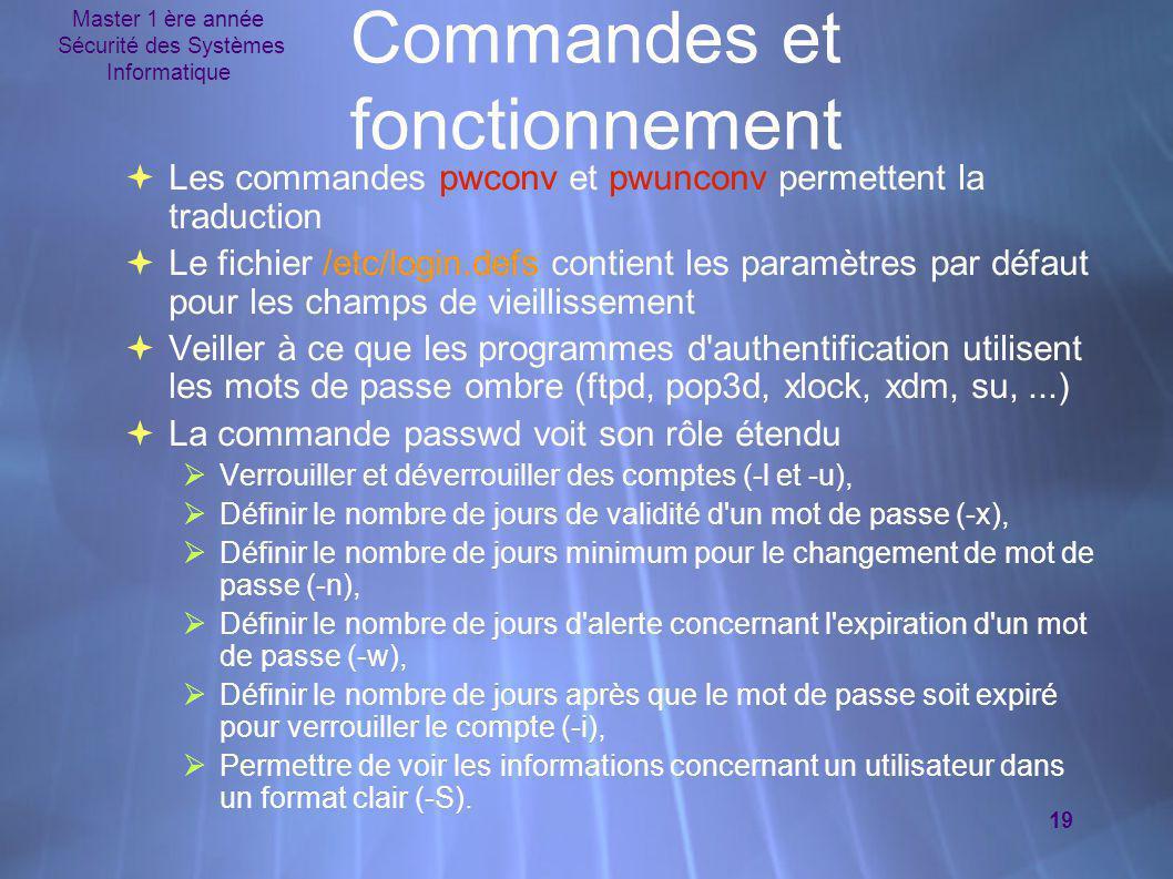Commandes et fonctionnement