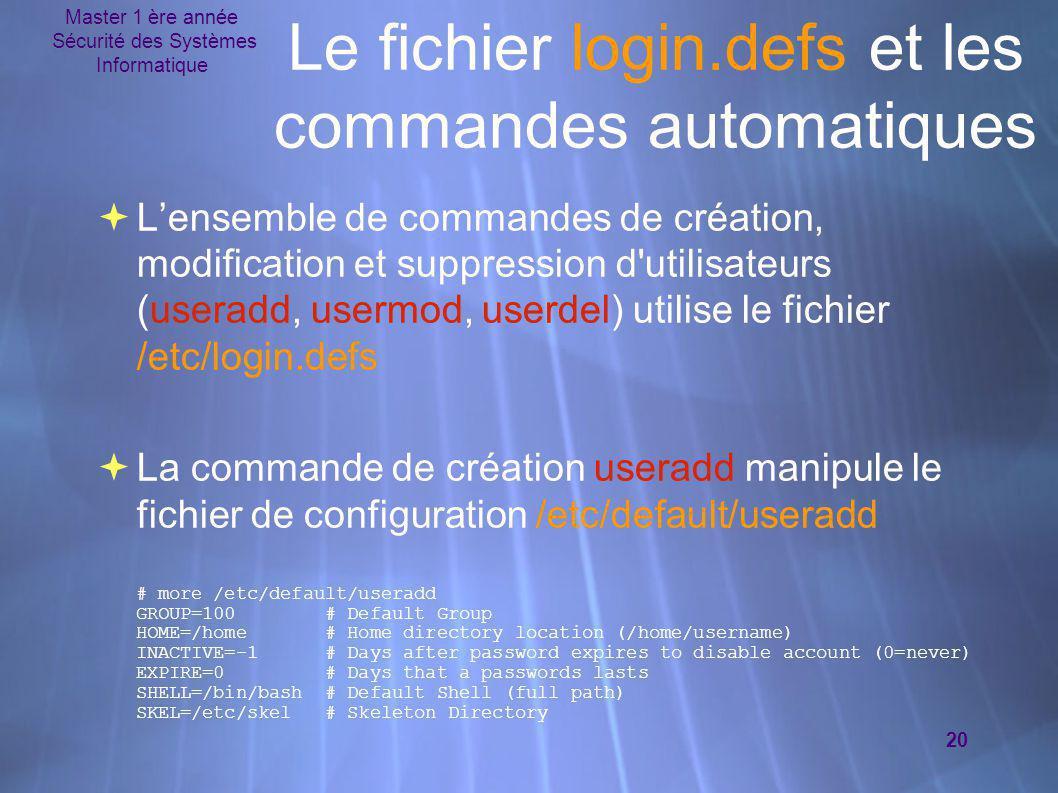 Le fichier login.defs et les commandes automatiques
