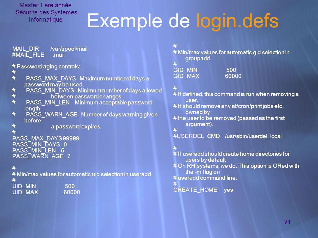 Sécurité des Systèmes Informatique