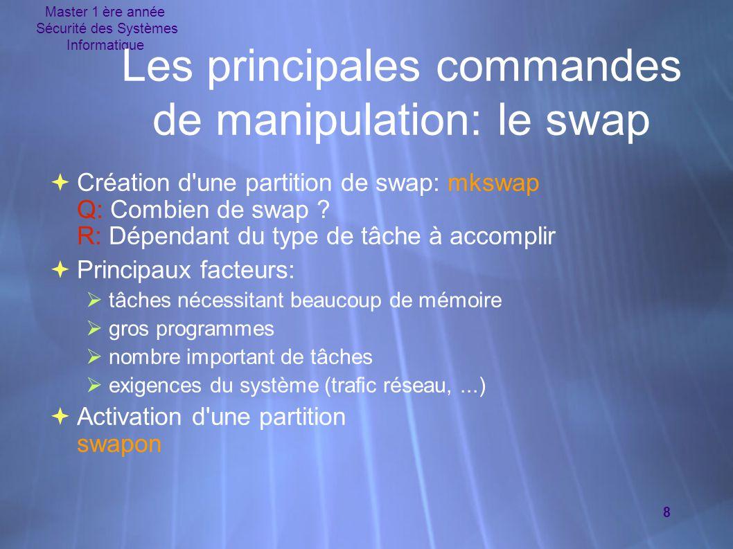 Les principales commandes de manipulation: le swap