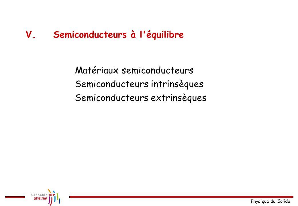 V. Semiconducteurs à l équilibre
