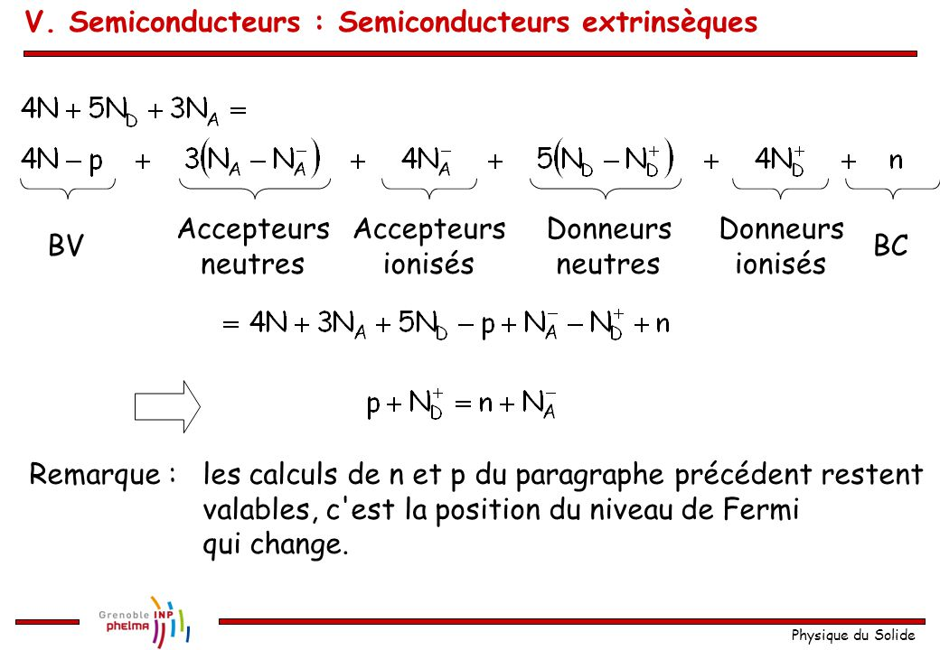 V. Semiconducteurs : Semiconducteurs extrinsèques