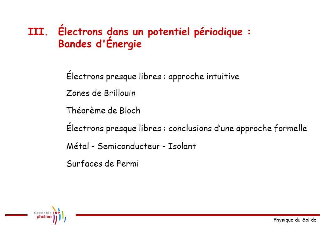 III. Électrons dans un potentiel périodique : Bandes d Énergie