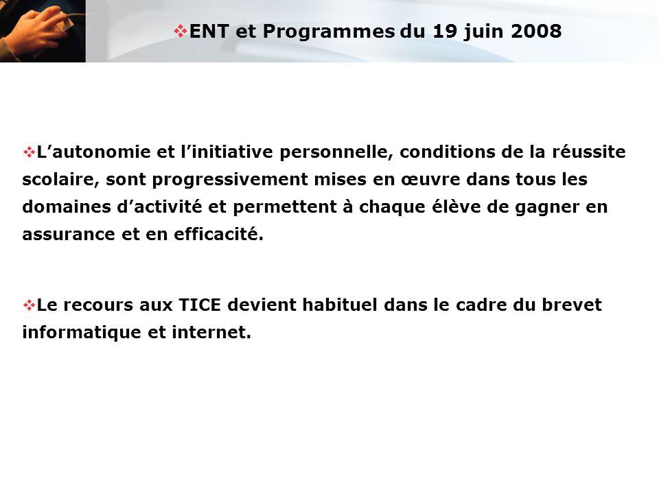 ENT et Programmes du 19 juin 2008