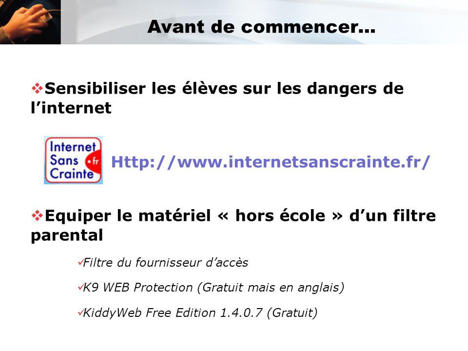 Avant de commencer… Sensibiliser les élèves sur les dangers de l'internet. Http://www.internetsanscrainte.fr/