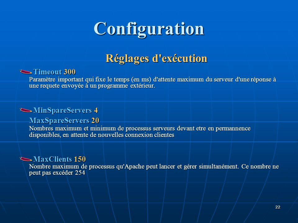 Configuration Réglages d exécution