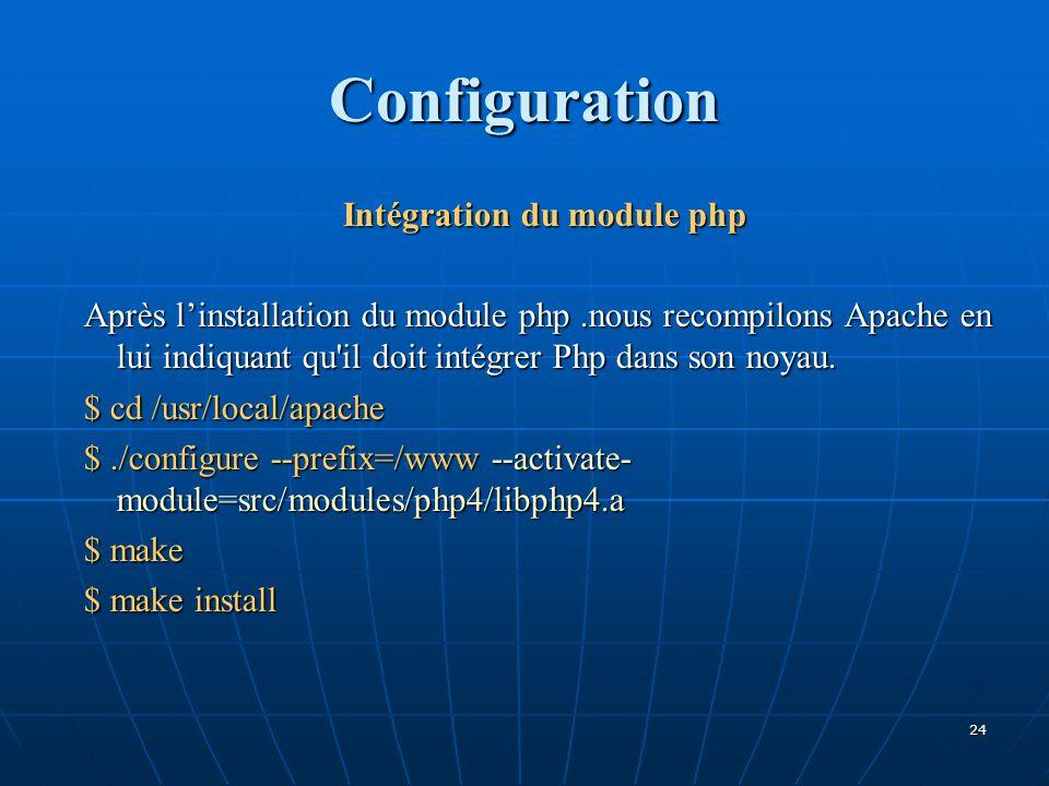 Intégration du module php