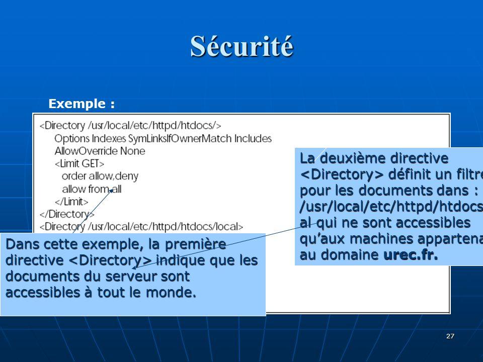 Sécurité Exemple :