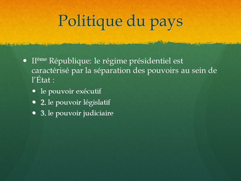 Politique du pays IIème République: le régime présidentiel est caractérisé par la séparation des pouvoirs au sein de l'État :