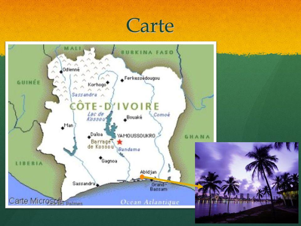 Carte Il y a 5 pays frontaliers avec la Cote d'Ivoire: 1. Mali, 2. Burkina Faso, 3. Liberia, 4. Guinée et 5. Ghana.