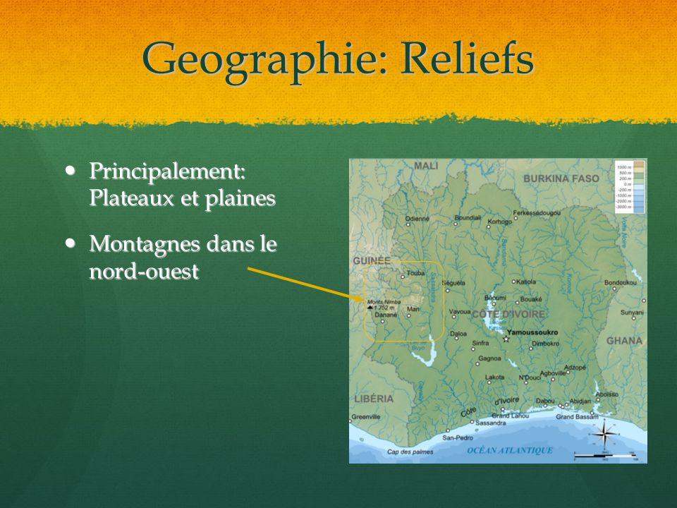 Geographie: Reliefs Principalement: Plateaux et plaines