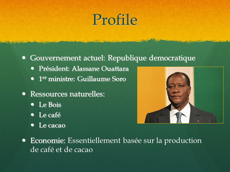 Profile Gouvernement actuel: Republique democratique