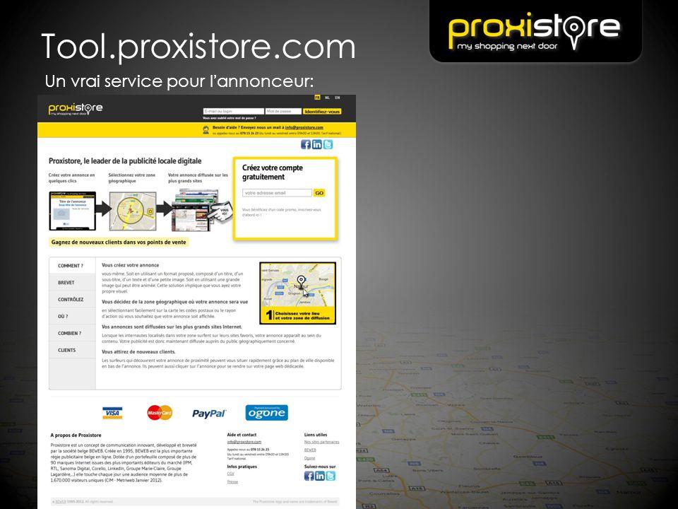 Tool.proxistore.com Un vrai service pour l'annonceur:
