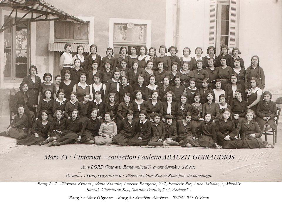 Mars 33 : l'Internat – collection Paulette ABAUZIT-GUIRAUDIOS