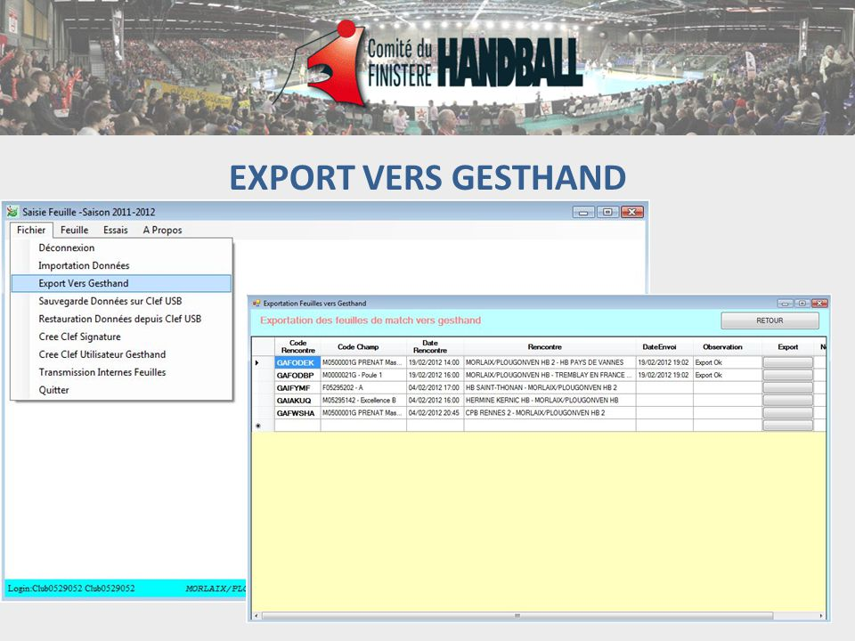 EXPORT VERS GESTHAND