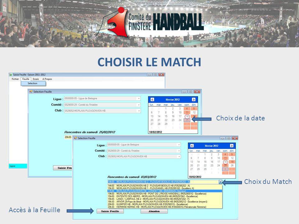 CHOISIR LE MATCH Choix de la date Choix du Match Accès à la Feuille