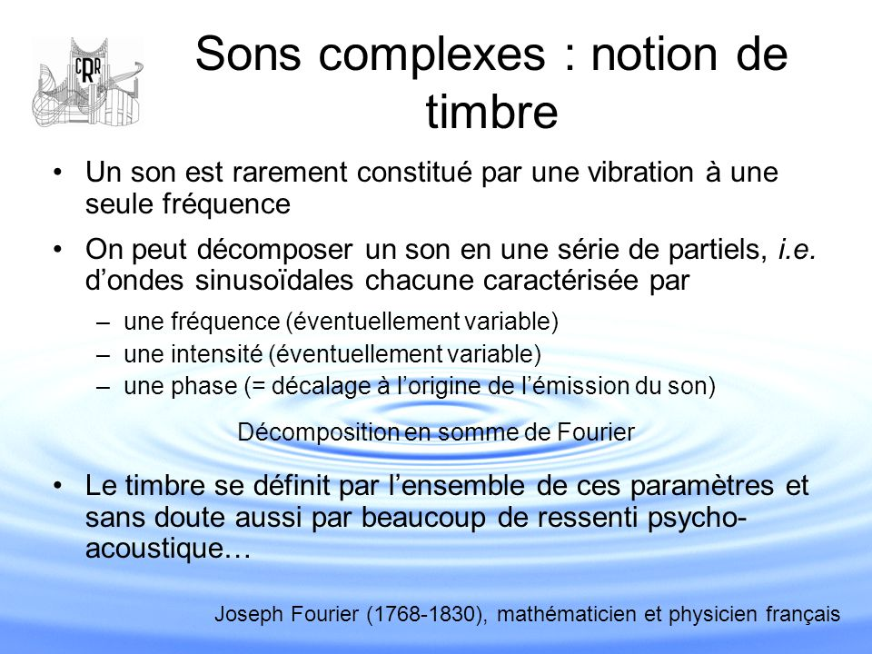 Sons complexes : notion de timbre