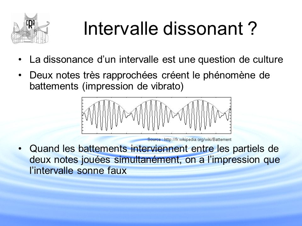 Intervalle dissonant La dissonance d'un intervalle est une question de culture.