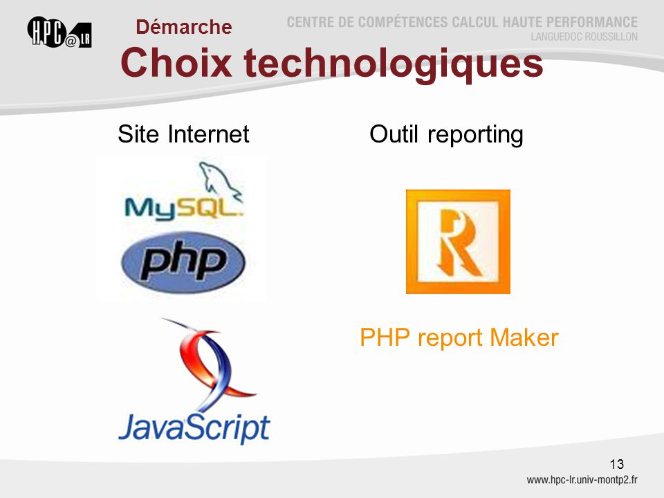 Choix technologiques Site Internet Outil reporting PHP report Maker