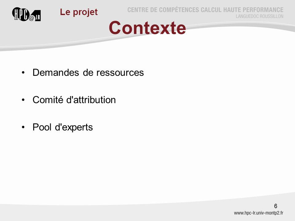 Contexte Demandes de ressources Comité d attribution Pool d experts