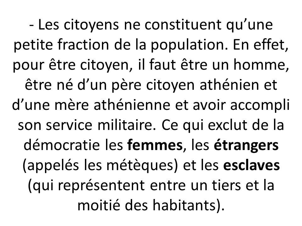 - Les citoyens ne constituent qu'une petite fraction de la population