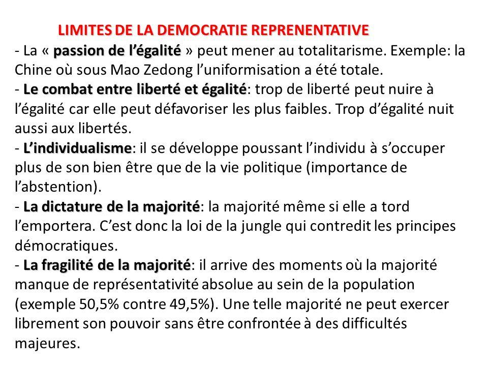 LIMITES DE LA DEMOCRATIE REPRENENTATIVE - La « passion de l'égalité » peut mener au totalitarisme.