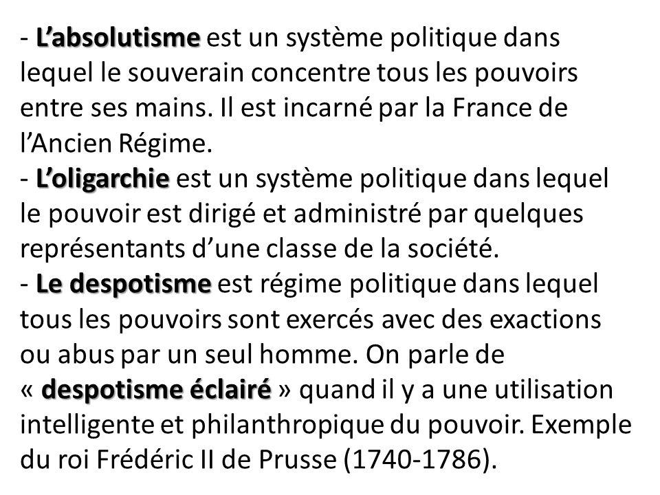 - L'absolutisme est un système politique dans lequel le souverain concentre tous les pouvoirs entre ses mains.