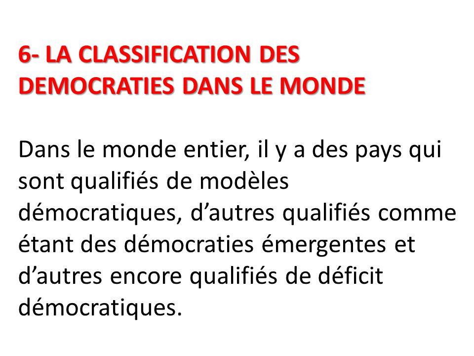 6- LA CLASSIFICATION DES DEMOCRATIES DANS LE MONDE Dans le monde entier, il y a des pays qui sont qualifiés de modèles démocratiques, d'autres qualifiés comme étant des démocraties émergentes et d'autres encore qualifiés de déficit démocratiques.
