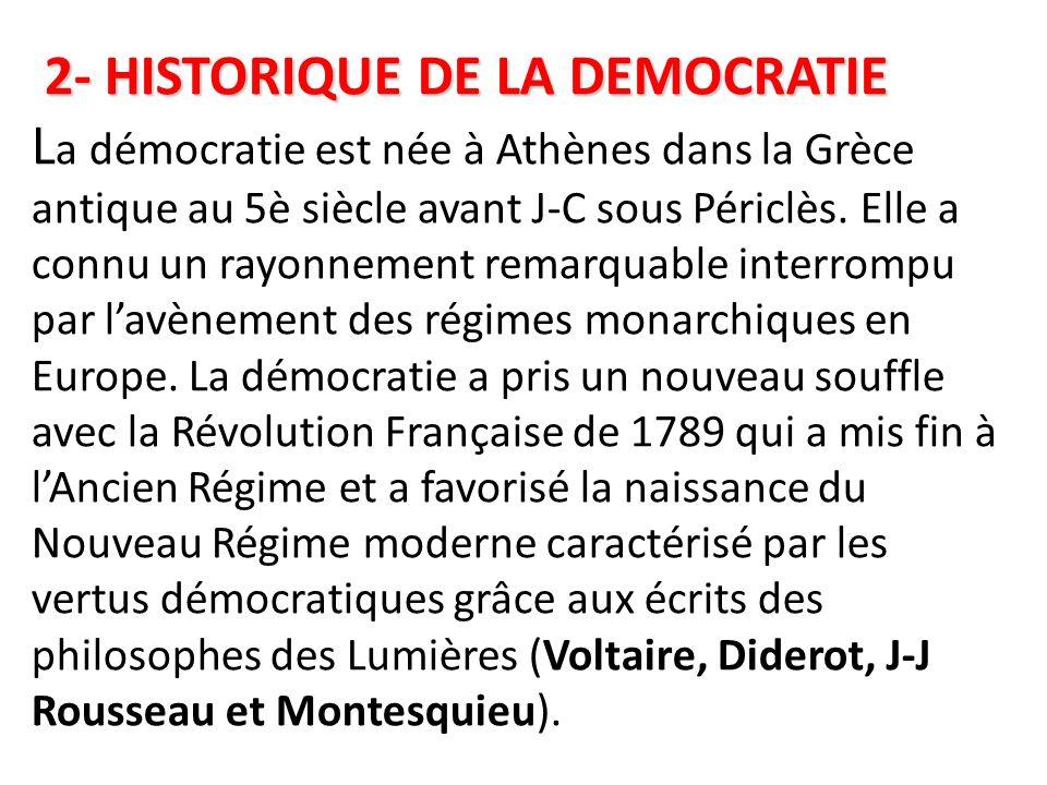 2- HISTORIQUE DE LA DEMOCRATIE La démocratie est née à Athènes dans la Grèce antique au 5è siècle avant J-C sous Périclès.