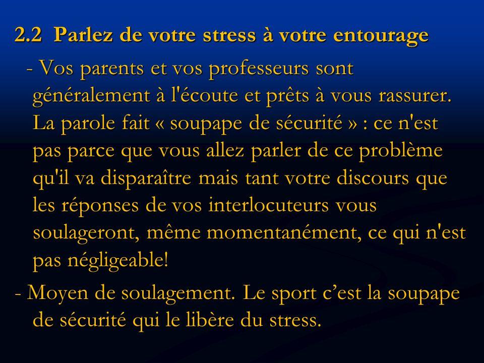 2.2 Parlez de votre stress à votre entourage