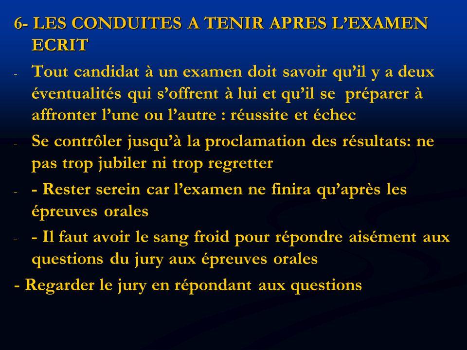 6- LES CONDUITES A TENIR APRES L'EXAMEN ECRIT