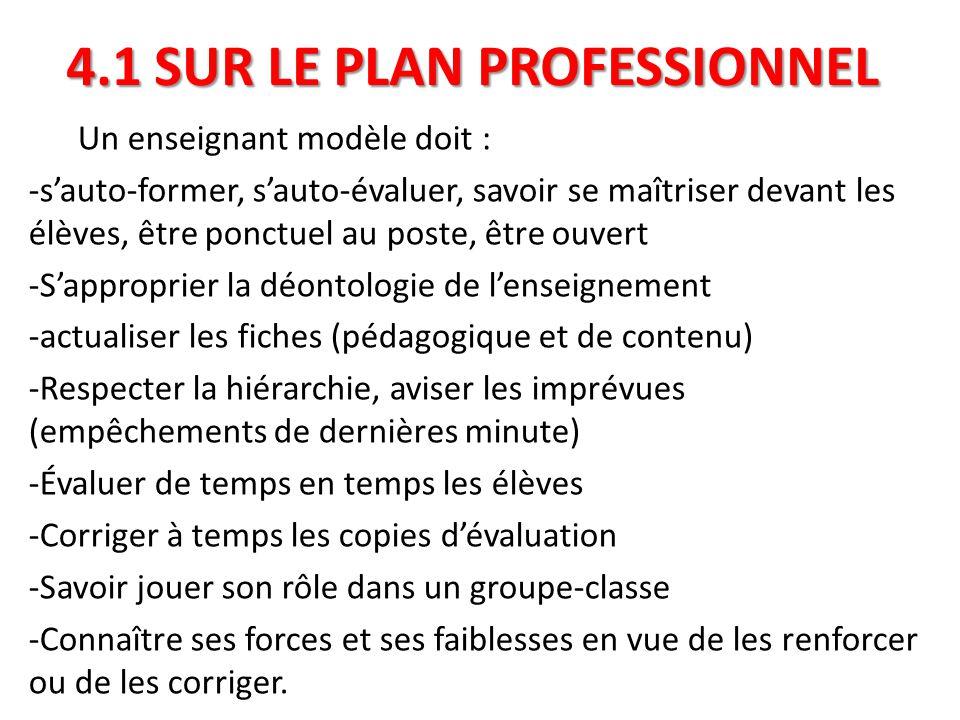 4.1 SUR LE PLAN PROFESSIONNEL