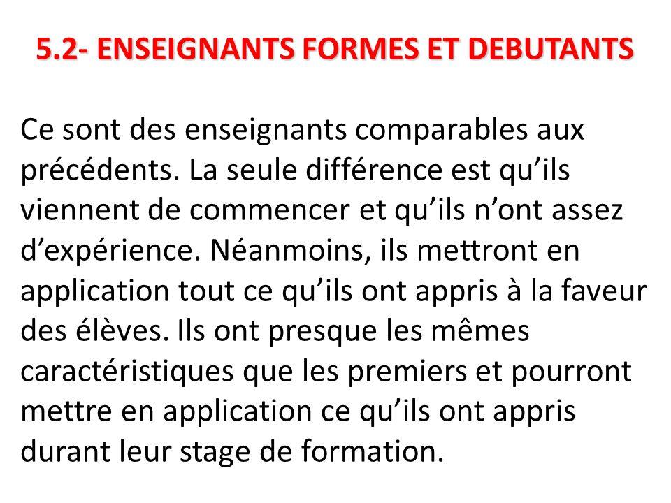 5.2- ENSEIGNANTS FORMES ET DEBUTANTS Ce sont des enseignants comparables aux précédents.