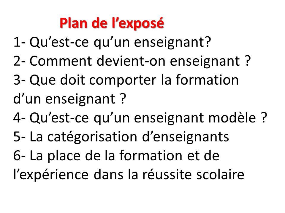 Plan de l'exposé 1- Qu'est-ce qu'un enseignant