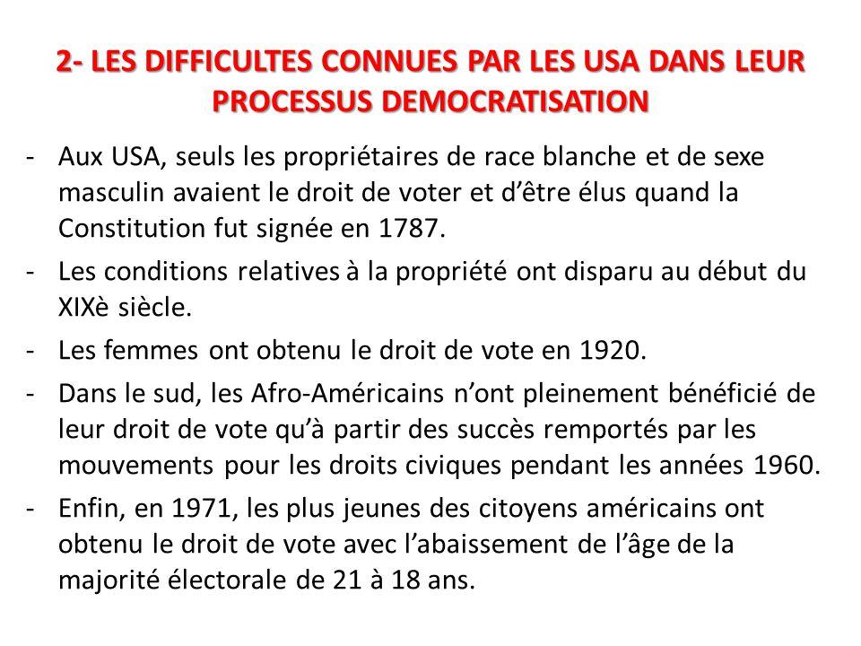 2- LES DIFFICULTES CONNUES PAR LES USA DANS LEUR PROCESSUS DEMOCRATISATION