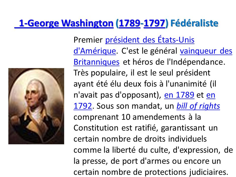 1-George Washington (1789-1797) Fédéraliste