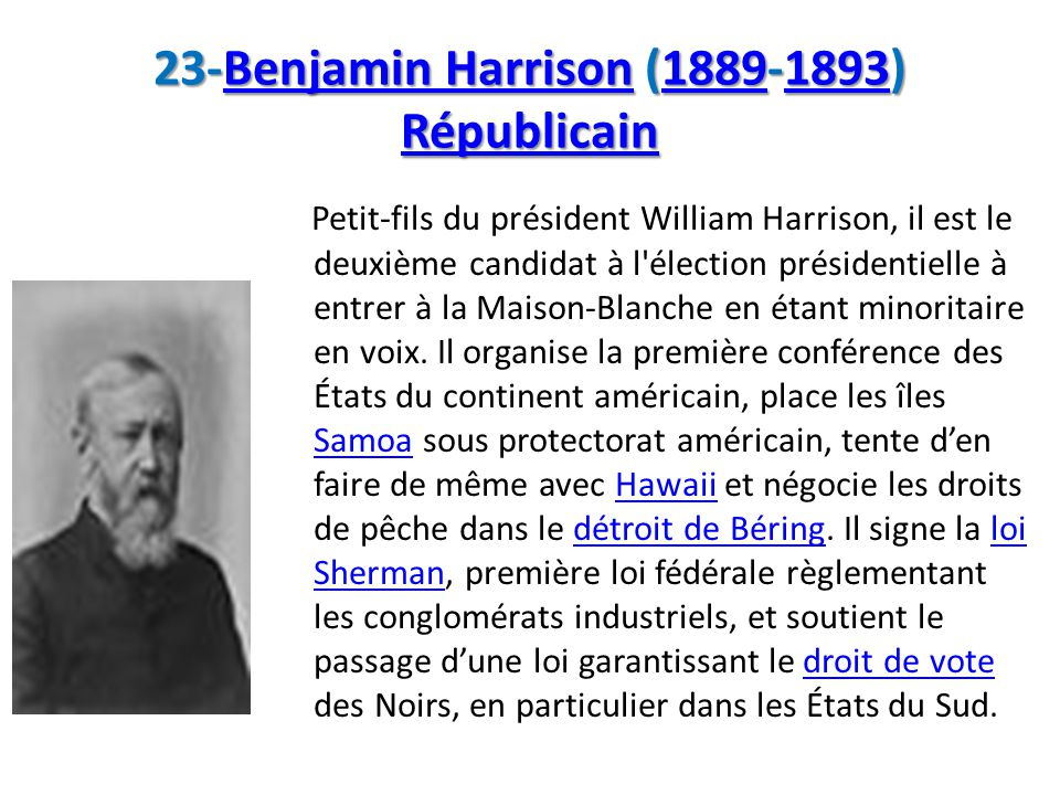 23-Benjamin Harrison (1889-1893) Républicain