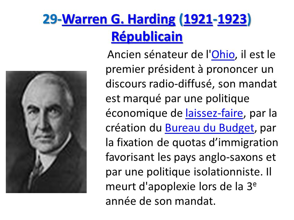29-Warren G. Harding (1921-1923) Républicain
