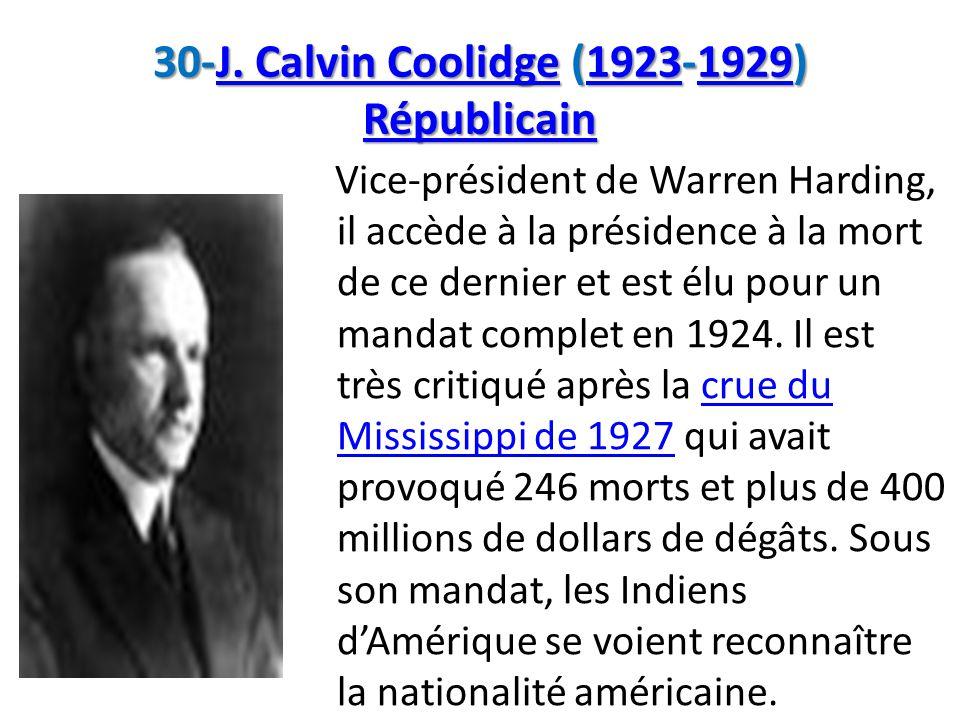 30-J. Calvin Coolidge (1923-1929) Républicain