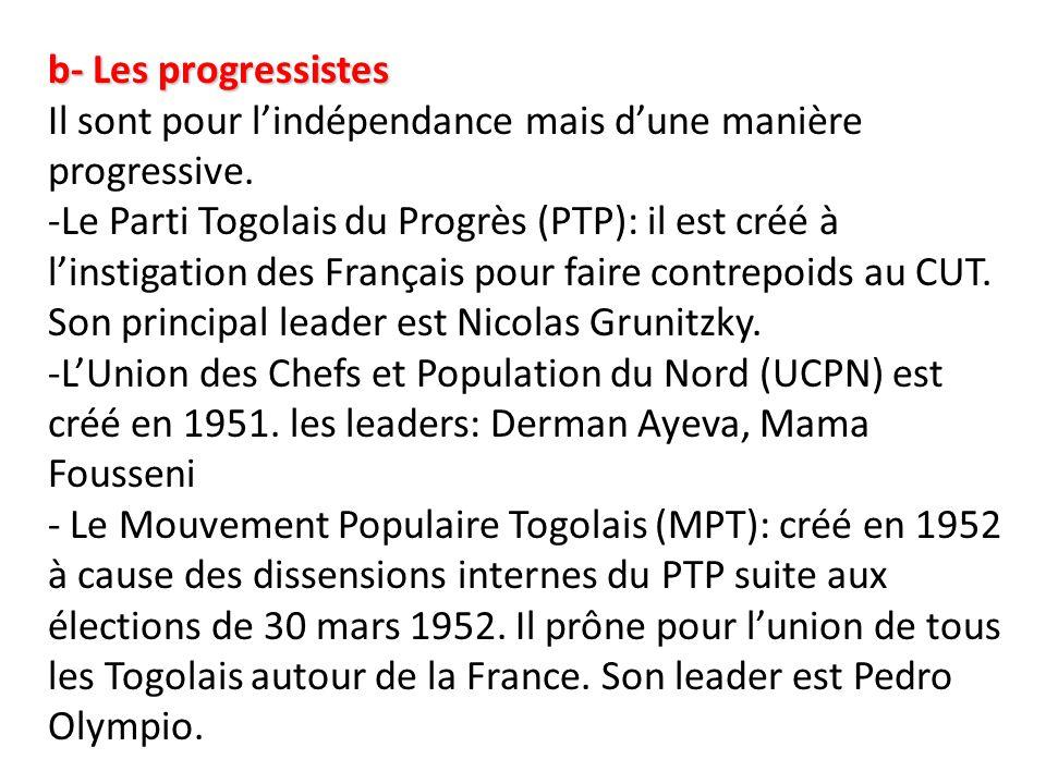 b- Les progressistes Il sont pour l'indépendance mais d'une manière progressive.