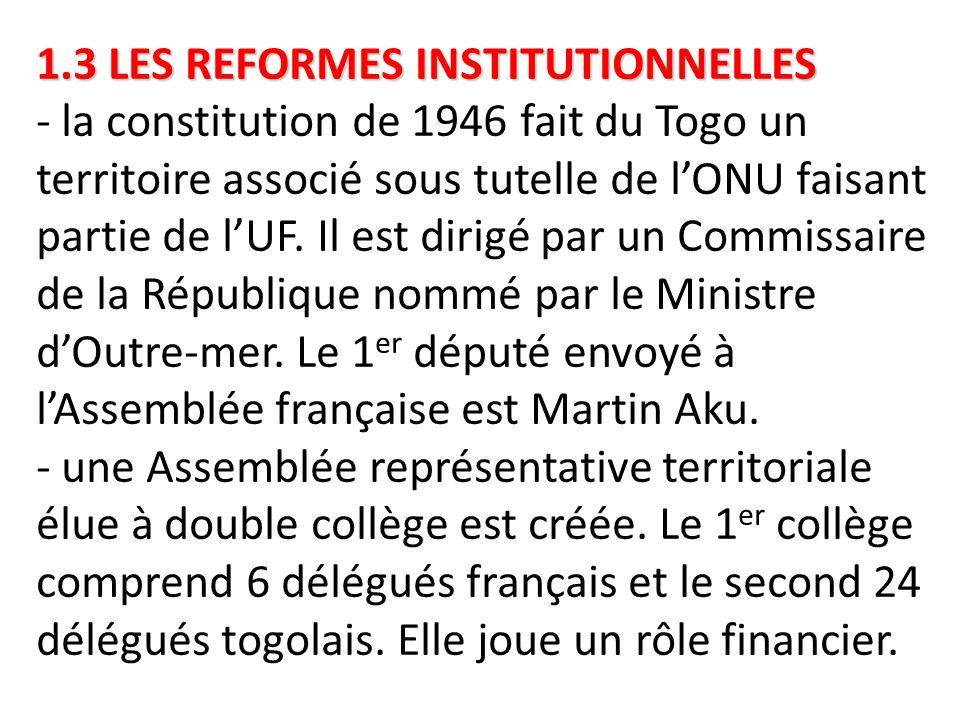 1.3 LES REFORMES INSTITUTIONNELLES - la constitution de 1946 fait du Togo un territoire associé sous tutelle de l'ONU faisant partie de l'UF.