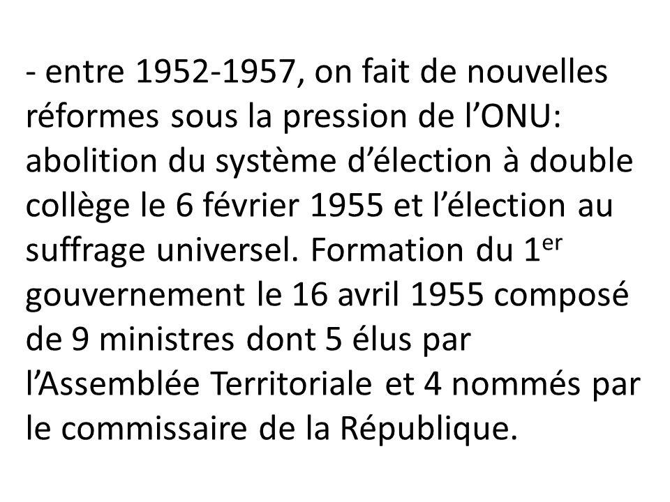 - entre 1952-1957, on fait de nouvelles réformes sous la pression de l'ONU: abolition du système d'élection à double collège le 6 février 1955 et l'élection au suffrage universel.