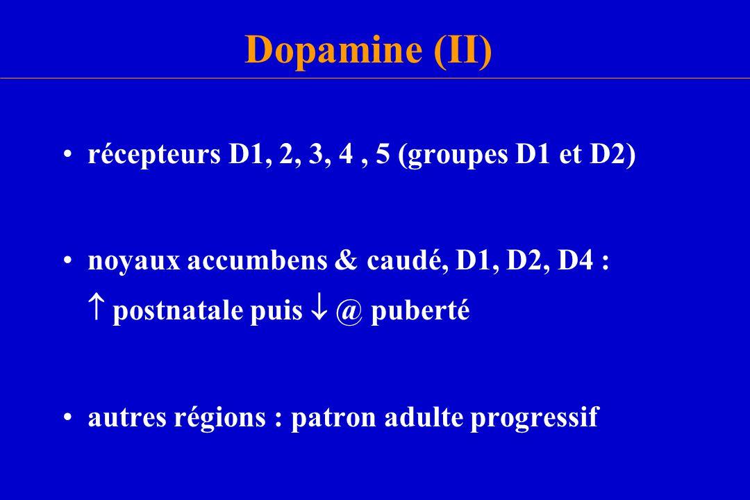Dopamine (II) récepteurs D1, 2, 3, 4 , 5 (groupes D1 et D2)