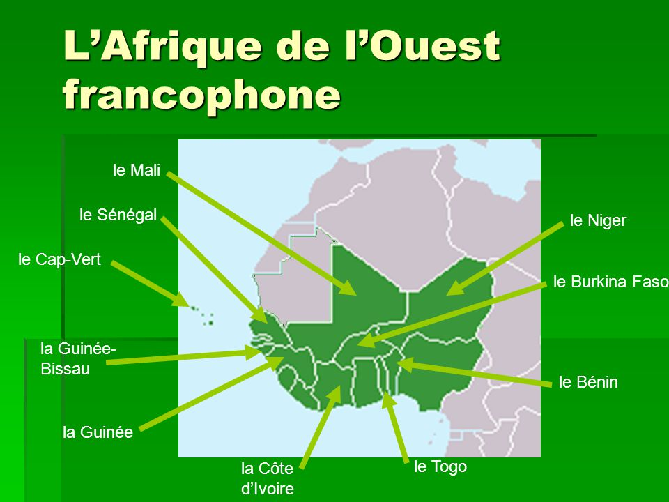 les pays francophones d afrique ppt video online t l charger. Black Bedroom Furniture Sets. Home Design Ideas