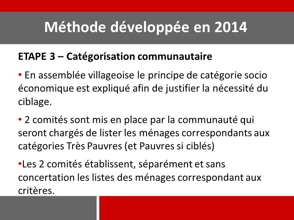 Méthode développée en 2014 ETAPE 3 – Catégorisation communautaire