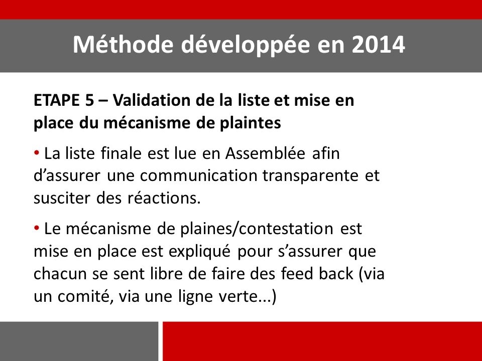 Méthode développée en 2014 ETAPE 5 – Validation de la liste et mise en place du mécanisme de plaintes.